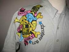 ED HARDY mens size XL light gray cotton Death or Glory polo golf shirt NEW