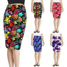 Vintage 50s Womens Retro Floral High Waist Party Pencil Slim Bodycon Midi Skirt