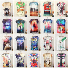 Fashion Women Graphic Printed Cotton Tops Short Sleeve T Shirt Casual Tee Blouse