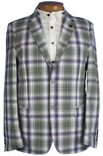 Stacy Adams Mens Purple And White Plaid Two Button Blazer