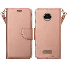 NEW 2016 MOTO Z DROID CELL PHONE CASE ROSE GOLD WALLET & STAND W/STRAP
