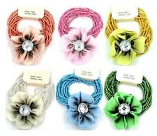 New Flower Beaded Stretchable Bracelets Silky Fabric Floral 6 Colors