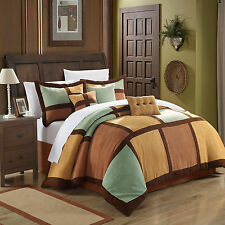 Diana Microsuede Green & Browns 7 Piece Comforter Bed In A Bag Set