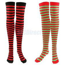 Women Colorful Stripe Over Knee High Christmas Socks Stockings Party Fancy Dress