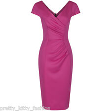 PRETTY KITTY 40s 50s CERISE BODYCON WIGGLE PENCIL VINTAGE COCKTAIL DRESS 8-18