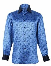 Stefano Ricci New Men's Woven Floral Blue Silk Shirt, size 16, 16.5, 17.5