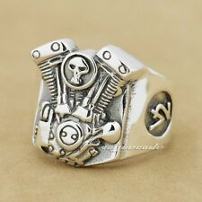 925 Sterling Silver V2 Skull Motorcycle Engine Mens Punk Ring 8Y009B UK P½~Z1