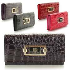 Ladies Womens Boxed Large LYDC Designer Patent Croc Coin Purse Wallet Clutch Bag