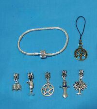 Pentagram Pentacle Charms Bracelet Bangle 18 cm Silver Wicca Witch Halloween