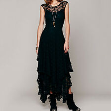 Women Vintage Hippie Boho Gypsy Festival French Court Sheer Lace Slip Dress  FT
