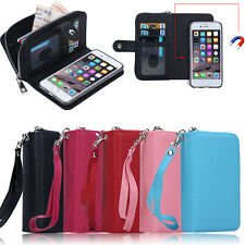 Luxury PU Leather Purse Zipper Wallet Case Card Cash Holder Cover For iPhone 5S