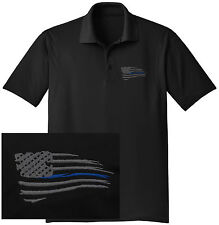 NEW THIN BLUE LINE WAVING FLAG Embroidered DRYFIT Black Polo Shirt-Free Shipping