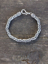 """925 Solid Sterling Silver Bali Chain  Byzantine Bracelet 7.5"""" Weight 27 grams"""