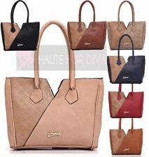 NEW WOMENS FAUX LEATHER TOTE HANDBAG FAUX SUEDE ASYMMETRICAL EMBELLISHMENT BAG