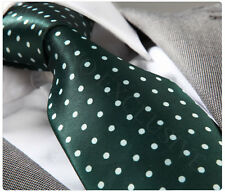 NEW ITALIAN DESIGNER DARK GREEN POLKA SILK TIE