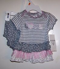 """NWTS GUESS BABY GIRL """"LOVE"""" DRESS/PANTY SET 0-3, 3-6 MONTHS 100% COTTON NEW"""