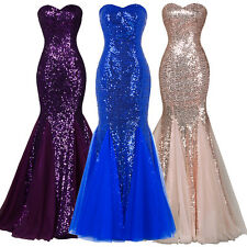 Sexy Women's Strapless Sequined Mermaid Dress Tulle Evening Prom Party Ball Gown
