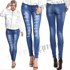 New Womens Ladies Extreme Ripped Super Skinny Faded Denim Jeans Stretchy Pants