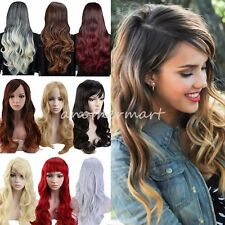 Deluxe Womens Long Wig Ombre Brown Blonde Black Gray Heat Resistant Full Wigs NX