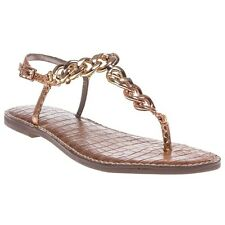 New Womens Sam Edelman Metallic Pink Grella Synthetic Sandals Flats Buckle