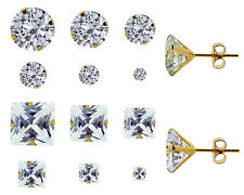 9ct Yellow Gold Round Square Cubic Zirconia Stud Earrings Various Sizes 3mm-8mm