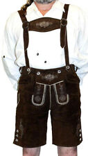 Brown LEATHER LEDERHOSEN German Oktoberfest SHORTS + SUSPENDERS Pants Trachten