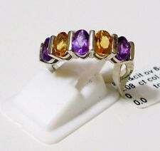 Amethyst, Citrine Pure 92.5 Solid Sterling Silver Cluster Ring Size 7.0 (US)