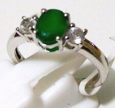 Genuine Green Onyx, White Topaz Pure 92.5 Solid Sterling Silver Ring US size 7.0