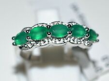 Pure 925 Solid Sterling Silver Genuine Green Onyx Ring Size 7.0 (US)