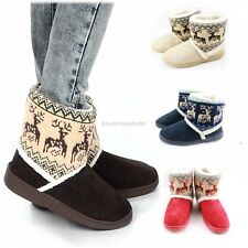 Vintage Women Mid Calf Flat Snow Boots Winter Warm Fur Lined Casual Shoes Botas