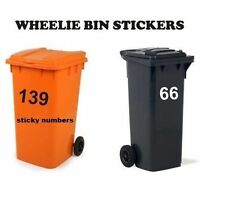 3 x Wheelie Bin Numbers Stickers, Self Adhesive Stick On. Available  colours, 6""