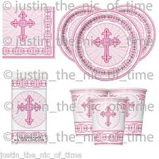 Christening Holy Communion Baptism PINK Girl Party Tableware Supplies