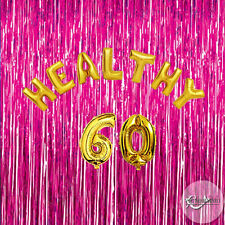 Healthy 60 Birthday Foil Balloons Party Decorations Functions Gold Silver 60th