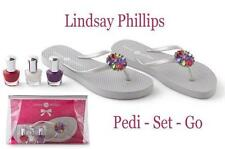 Lindsay Phillips 6 PC Pedicure Flip Flop Set with Polish and Jeweled Snaps