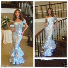 New Sequin Mermaid Pom Dress Evening Formal Party Gown Plus Size 2 4 6 8 10 +++