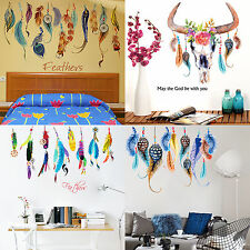 Lucky Feather Wall Stickers Removable Kids Wall Decals Mural Art Home Room Decor