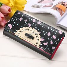 Womens Bowknot PU Leather Wallet Clutch Purse Card Holder Long Handbag Bag S0BZ