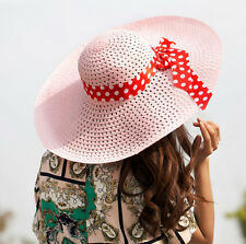 Wide Brim Straw Hat Women Derby Lady Cap Floppy Beach Hat Fold Summer Sun