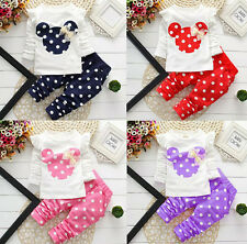 2 Pcs Girls Clothing Sets Cute Cartoon Suits Hot Baby Kids Leggings Polka Dot
