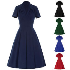 Womens Sexy Vintage Style Short Sleeve Dresses High Stretchy Party Picnic Dress