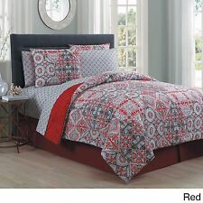 NEW Queen King Bed Red Gray Grey Damask Geometric 8 pc Comforter Sheet Set NWT