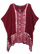 eaonplus WINE Embroidered BATIK Print Kaftan Tunic Top PLUS SIZES 16 to 32