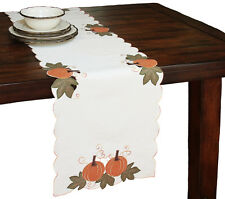 Xia Home Fashions Pumpkin Patch Embroidered Cutwork Linens Table Runner