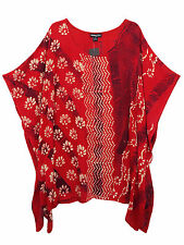 eaonplus Safari RED Embroidered Batik Print Kaftan Tunic Top PLUS SIZES 16-32