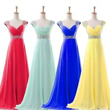 Red Blue Chiffon Long Cap Sleeve Beaded Formal Prom Dresses Party Evening Gown