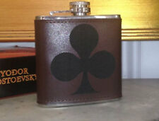 Custom Club Engraved Leather Hand Dyed Stainless Steel Flask Wedding Gift
