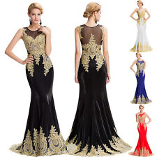 Vintage Applique Long Dress Wedding Bridesmaid Party Prom Cocktail Evening Gowns