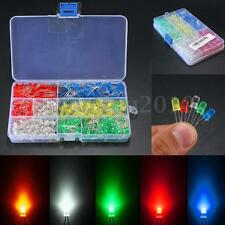 500Pcs 3mm/5mm LED Light White/Yellow/Red/Blue/Green Assortment Diodes Kit DIY