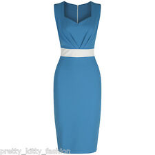PRETTY KITTY LUXURY 40s TURQUOISE BLUE WIGGLE PENCIL VINTAGE COCKTAIL DRESS 8-18