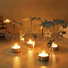 Xmas Rotating Rotary Spinning Carousel Tea Light Candle Holder Home Decor